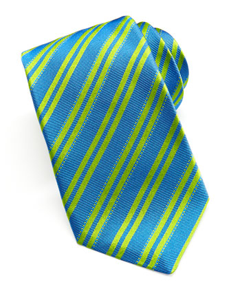 Double-Stripe Woven Tie, Blue/Green