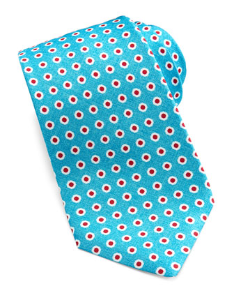 Dot-Print Silk Tie, Aqua/Red