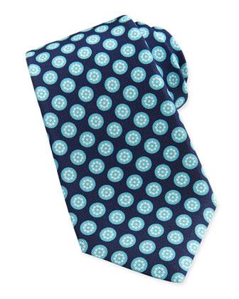 Round-Floral Silk Tie, Aqua