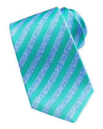 Large-Stripe Silk Tie, Blue/Green