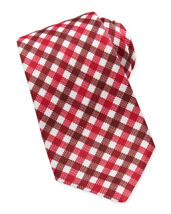 Plaid Grenadine Tie, Red