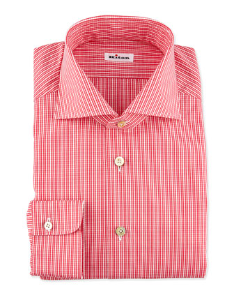 Micro-Check Dress Shirt, Red
