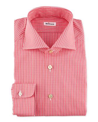 Micro-Check Dress Shirt, Red