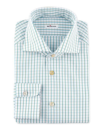 Multi-Check Dress Shirt, Teal/Brown