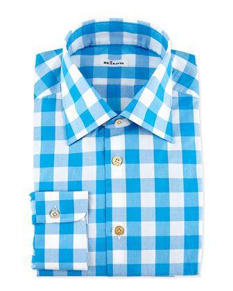 Buffalo-Check Dress Shirt, Teal