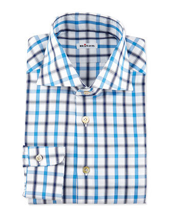 Checked Dress Shirt, Navy/White/Blue