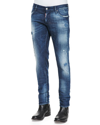 Cloud Sky Distressed Slim Jeans
