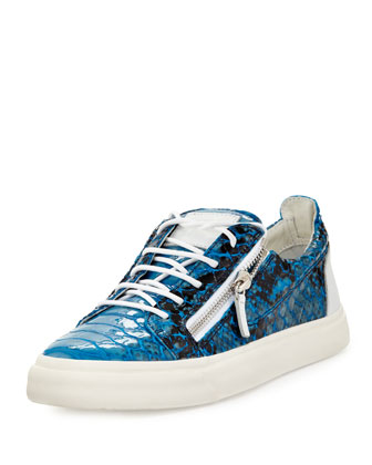 Men's Zip Python-Print Low-Top Sneaker, Turquoise