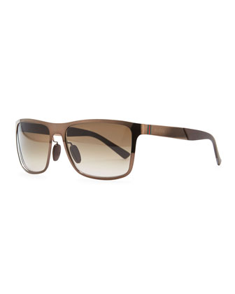 Web-Detail Square Sunglasses, Brown