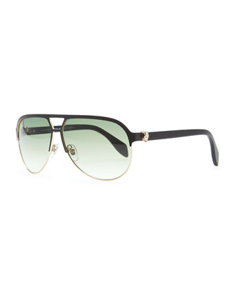 Gold Skull Aviator Sunglasses, Black