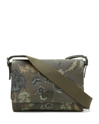 Men's Floral-Print Messenger Bag, Green Multi