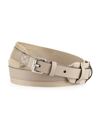 Military Web and Leather Belt, Cream