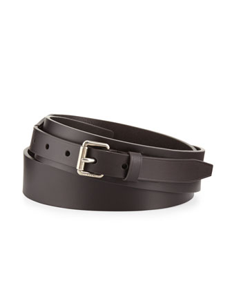 Leather Belt with Small-Square Buckle
