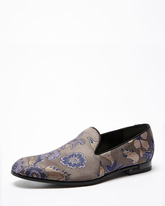 Floral Embroidered Smoking Slipper