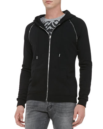 Zip Hoodie with Studded Trim, Black