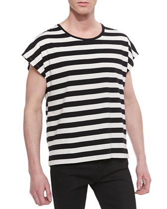 Horizontal Stripe Short Sleeve T-shirt, Black/White