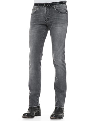 17.5cm Distressed Stretch-Denim Jeans, Gray