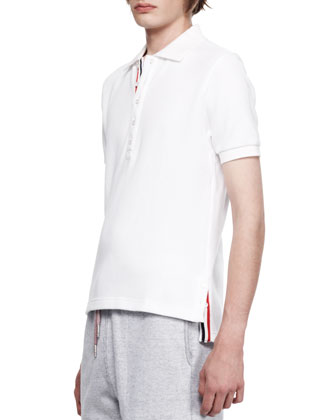 Stripe-Trim Pique Polo, White