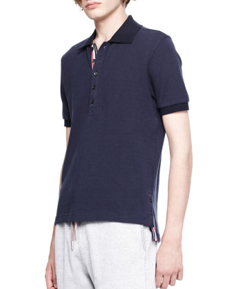 Stripe-Trim Pique Polo, Navy