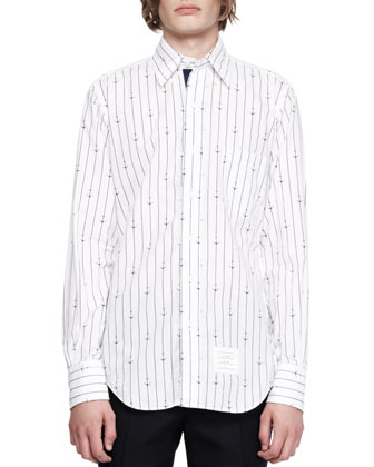 Anchor Pinstripe Buttoned Shirt