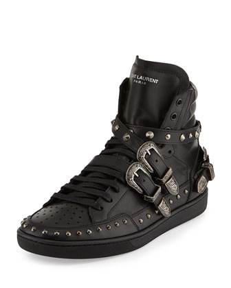 Studded Buckle-Strap High-Top Sneaker, Black