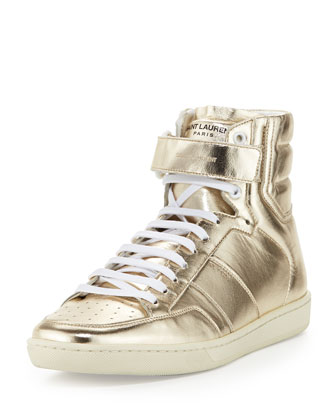Future Metallic-Leather High-Top Sneaker, Gold