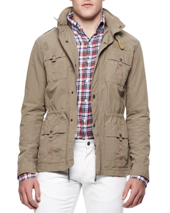 Four-Pocket Twill Military Jacket