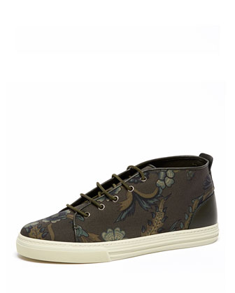 Floral-Print High-Top Sneaker, Green Multi