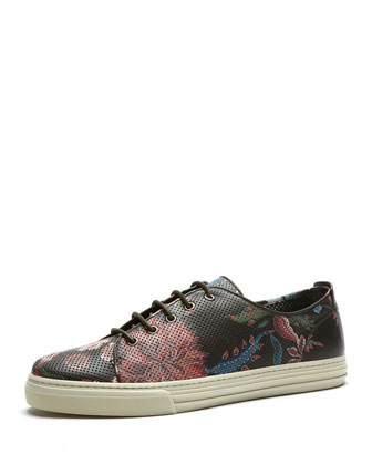 Floral-Print Leather Low-Top Sneaker