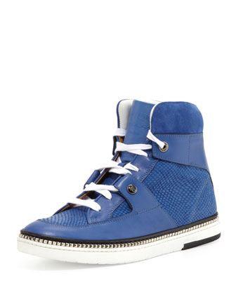 Barlowe Men's Viper-Print Leather High-Top Sneaker, Blue
