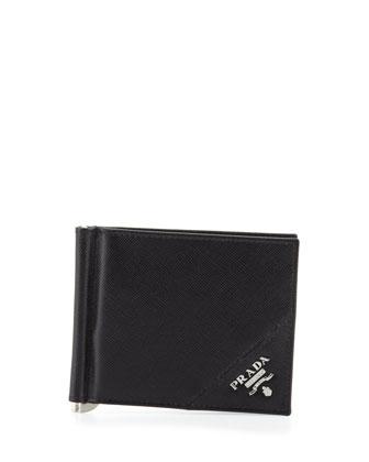 Saffiano Clip Wallet, Black