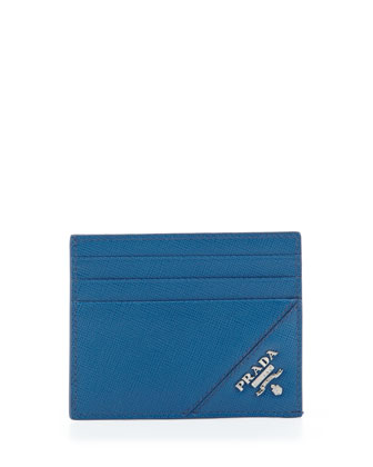 Open-Side Card Case, Blue