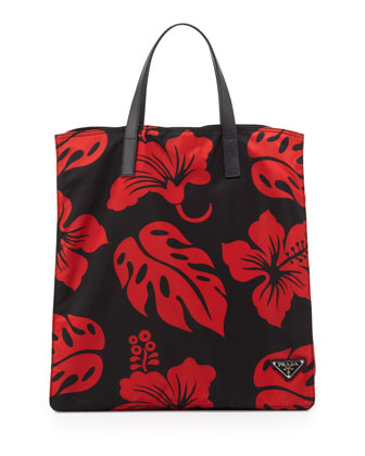 Men's Hibiscus Nylon Tote Bag, Red/Black