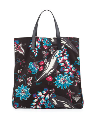 Men's Floral Nylon Tote Bag, Multi