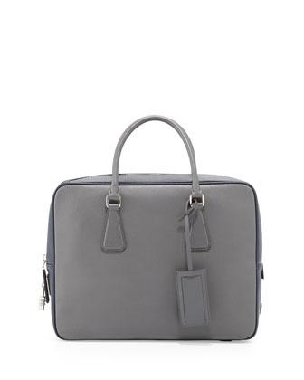 Saffiano Bicolor Zip-Around Briefcase, Gray/Blue