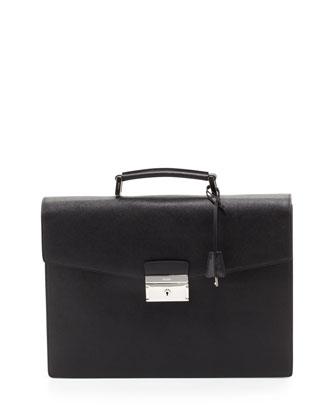 Saffiano Single-Gusset Briefcase