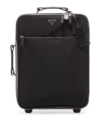 Nylon Carry-On Trolley Bag, Black