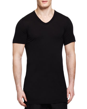 Basic Short-Sleeve V-Neck T-Shirt, Black