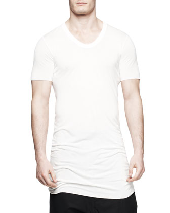 Basic Short-Sleeve Silk V-Neck Tee, Milk