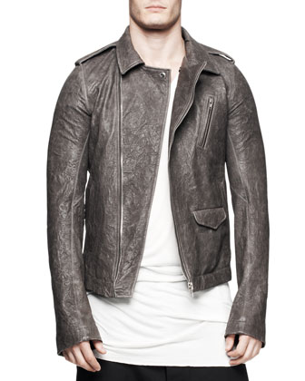 Asymmetric Leather Bikers Jacket, Dark Dust