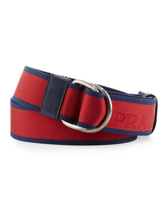 Bicolor Webbed D-Ring Belt, Red/Blue