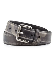 Camo-Print Distressed Saffiano Belt