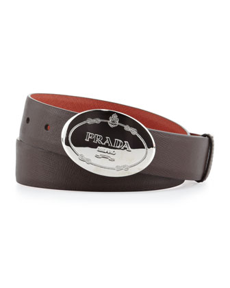 Reversible Saffiano Plaque Belt, Orange/Brown
