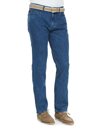 New York 5-Pocket Denim Jeans, Blue