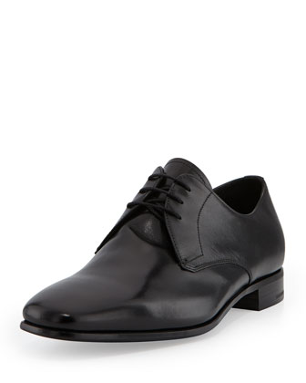 Smooth Vitello Lace-Up, Black