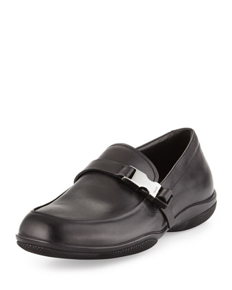 Buckled Leather Loafer, Black