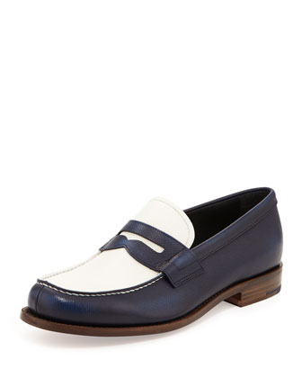 Saffiano Spectator Loafer, Blue/White