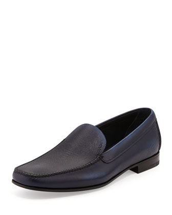 Saffiano Leather Loafer, Blue