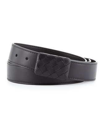 Leather Woven-Plaque Belt