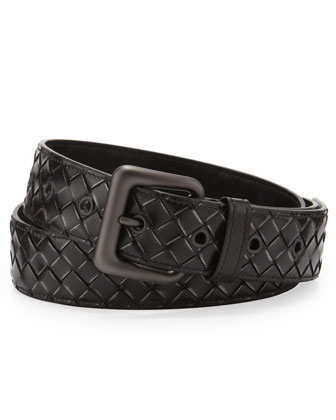Calandre Woven Leather Belt, Black